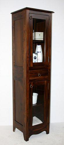 Badhochschrank nussbaum Farbe Badschrank Badezimmerschrank Vollholz massiv braun – Bild 1