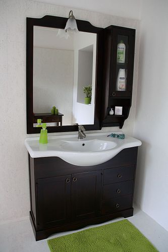 Badmöbel-Set 5teilig 105cm nussbaumfarben italienisch Badezimmer Vollholz massiv – Bild 2