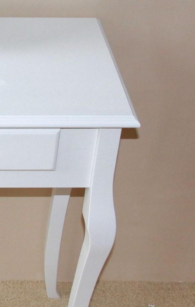 Konsolentisch Decor Beistelltisch mit 2 Schubladen, Pappel weiß massiv – Bild 3