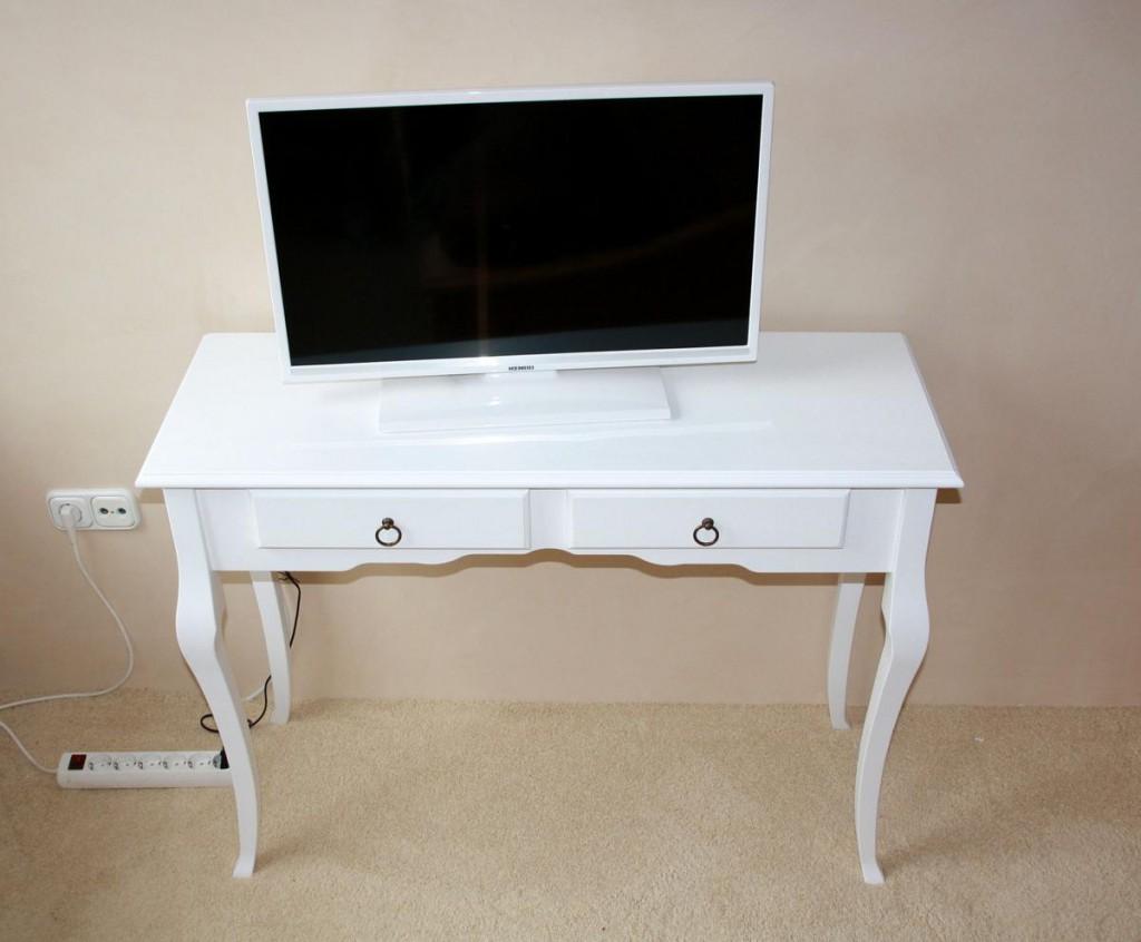Konsolentisch Decor Beistelltisch mit 2 Schubladen, Pappel weiß massiv – Bild 1
