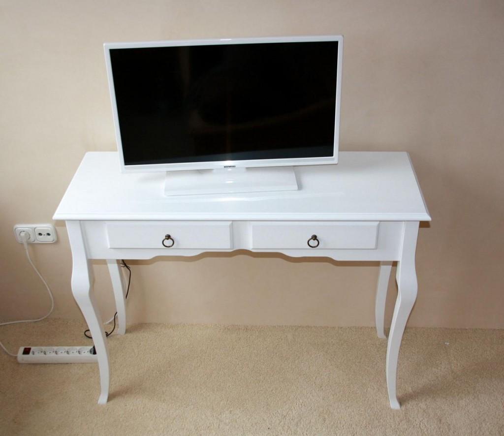 Konsolentisch Decor Beistelltisch mit 2 Schubladen, Pappel weiß massiv – Bild 2