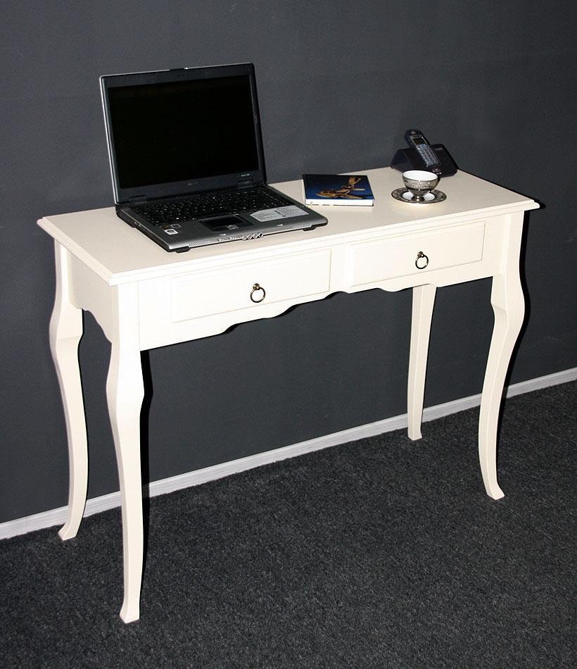 Konsolentisch Wandtisch Beistelltisch 105x79 - Holz massiv creme – Bild 2