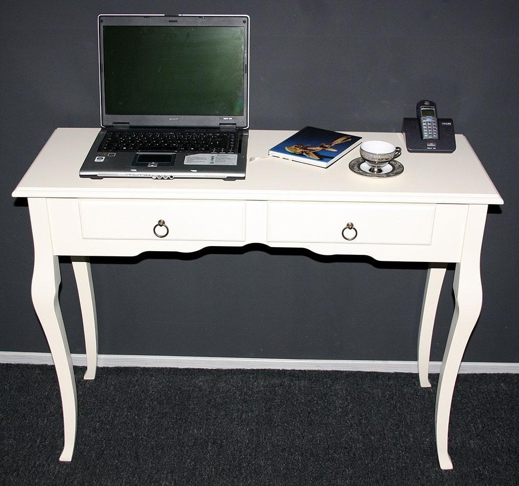 Konsolentisch Wandtisch Beistelltisch 105x79 - Holz massiv creme – Bild 3