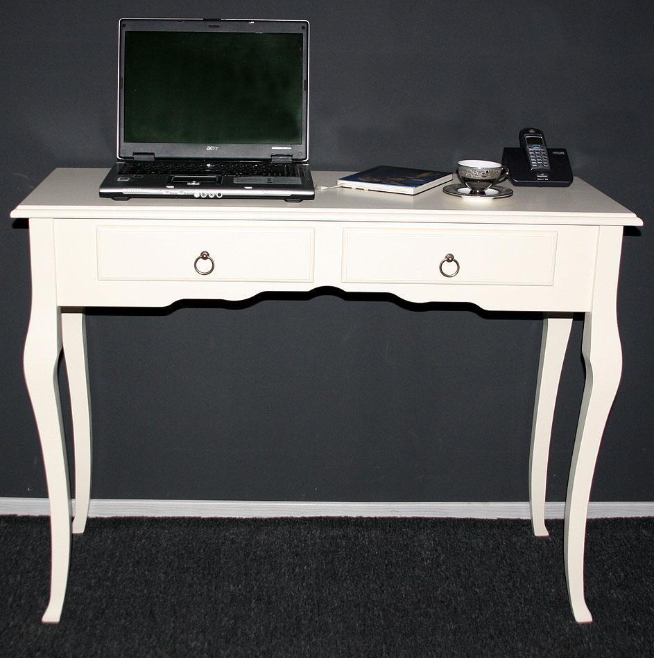 Konsolentisch Wandtisch Beistelltisch 105x79 - Holz massiv creme – Bild 5