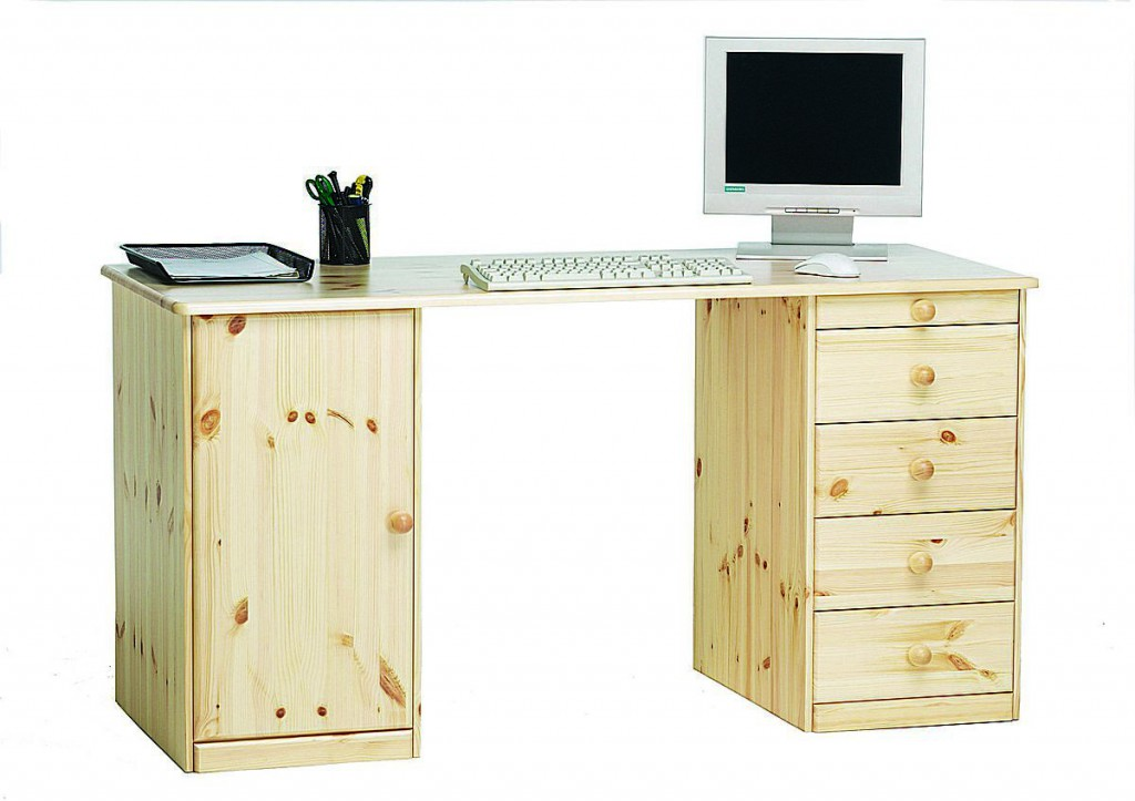 schreibtisch 150x77x60cm 1 t r 4 schubladen kiefer. Black Bedroom Furniture Sets. Home Design Ideas