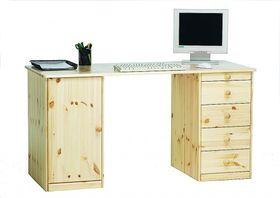Schreibtisch 150x77x60cm, 1 Tür, 4 Schubladen, Kiefer massiv natur lackiert