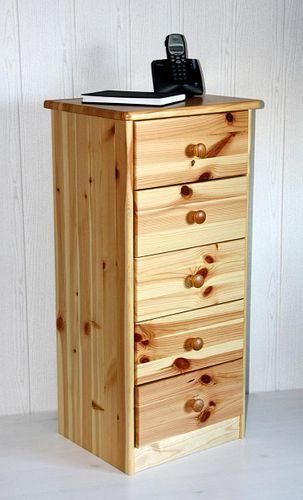 Schubladenkommode Kiefer Nachtkommode massiv Wäschekommode natur lackiert – Bild 2