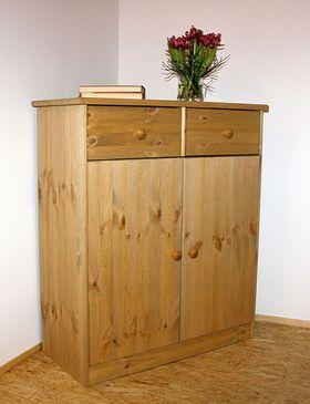 Kommode 78x89x35, 2 Türen, 2 Schubladen, Kiefer massiv gelaugt geölt