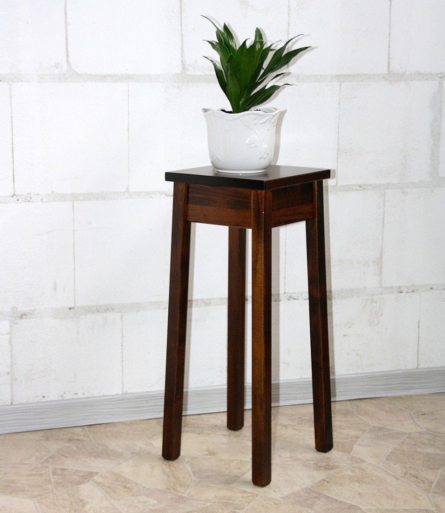 Blumentisch 60cm Beistelltisch quadratisch Pappel massiv braun nussbaum Farbe – Bild 2