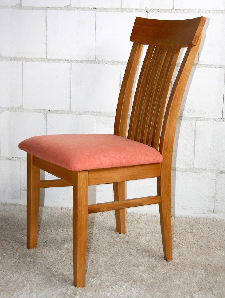 Stuhl mit Sitzpolster NORMANDI 48x89x47 Eiche massiv geölt