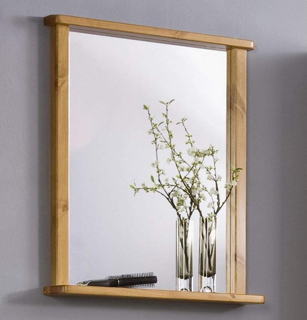 Badezimmer-Spiegel VENEDIG 67x78x12cm Kiefer massiv honig lackiert