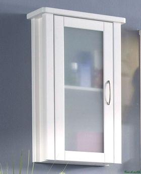 Hängeschrank weiß, Hängevitrine Badmöbel Badezimmerschrank Kiefer weiß gewachst 001