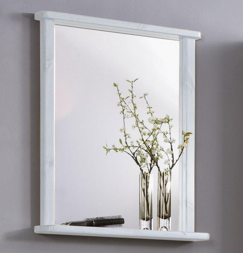 Badezimmer-Spiegel 67x78x12cm, mit Ablage, Kiefer massiv weiß gewachst