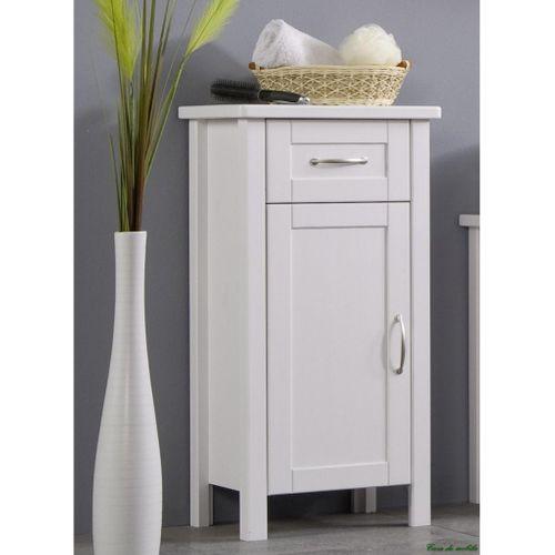 Badezimmer Kommode Badschrank 1türig weiß - Kiefer Möbel gewachst – Bild 1