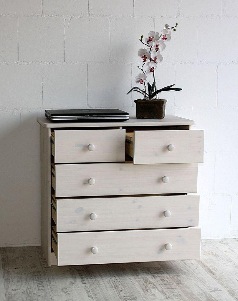 Schubladenkommode Kommode Wäschekommode Kiefer massiv weiß – Bild 8