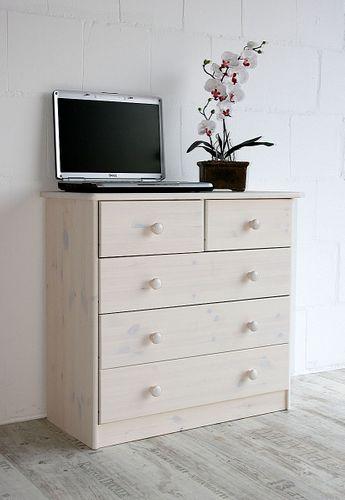 Schubladenkommode Kommode Wäschekommode Kiefer massiv weiß – Bild 1