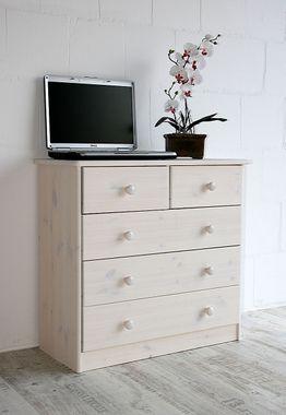 Schubladenkommode Kommode Wäschekommode Kiefer massiv weiß 001