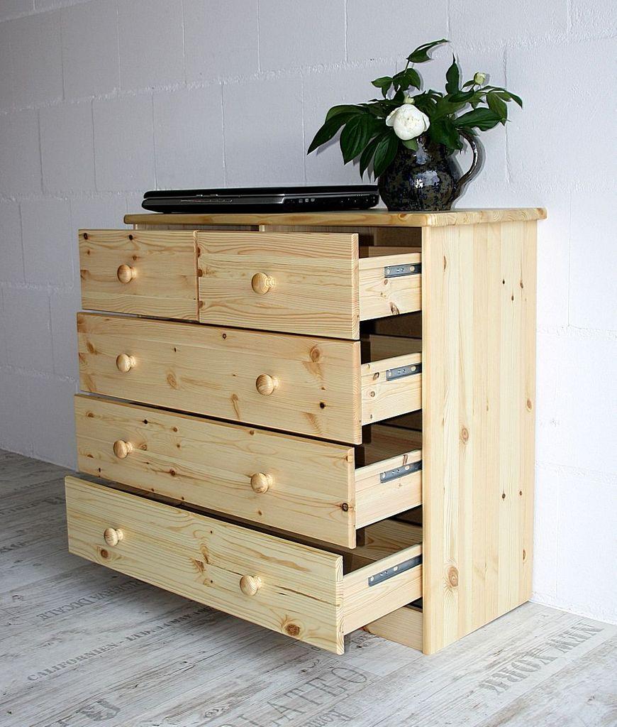 Schubladenkommode Wäschekommode Kiefer massiv Holz lackiert – Bild 2