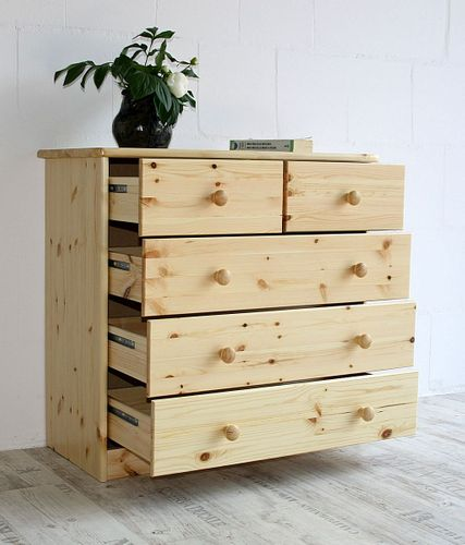 Schubladenkommode Wäschekommode Kiefer massiv Holz lackiert – Bild 5