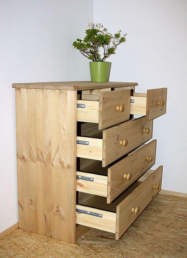 Schubladenkommode Kommode Schubladenschrank Kiefer massiv gelaugt geölt – Bild 6