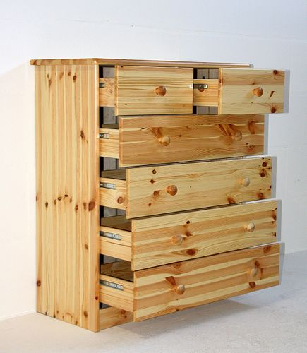 Schubladenkommode Wäschekommode Schubladenschrank Kiefer natur lackiert – Bild 5