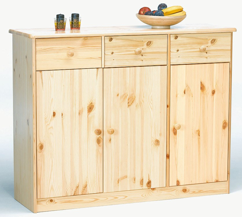 Massivholz highboard sideboard kommode anrichte kiefer - Anrichte kiefer ...