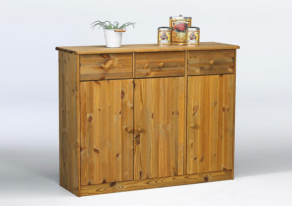 Highboard kommode sideboard mit schubladen kiefer gelaugt for Sideboard mit schubladen