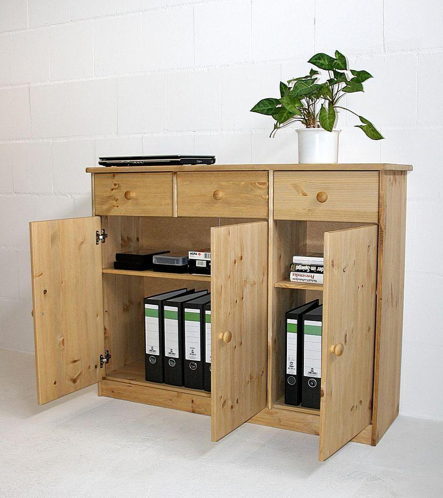 kommode 115x89x35cm 3 t ren 3 schubladen kiefer massiv. Black Bedroom Furniture Sets. Home Design Ideas