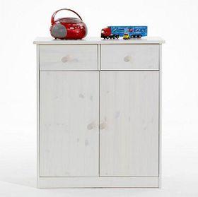 Kommode 78x89x35, 2 Türen, 2 Schubladen, Kiefer massiv weiß gewischt