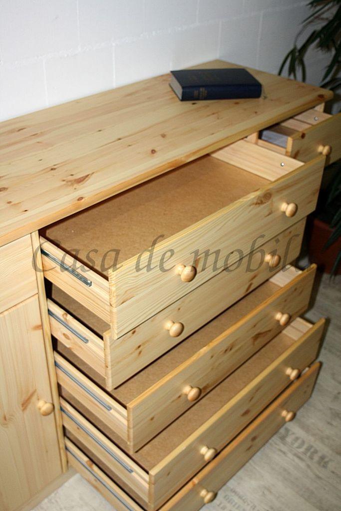 Sideboard MARIO 151x89x48cm Kiefer natur lackiert Anrichte Kommode – Bild 7