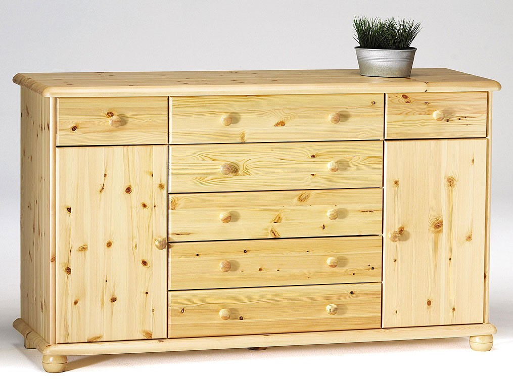 Massivholz sideboard kiefer natur lackiert kommode for Sideboard kommode