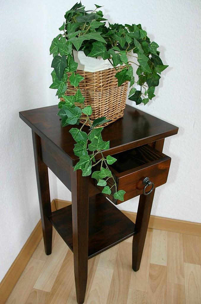 Beistelltisch-Set Blumentische Blumenhocker massiv braun Nussbaumfarbe – Bild 3