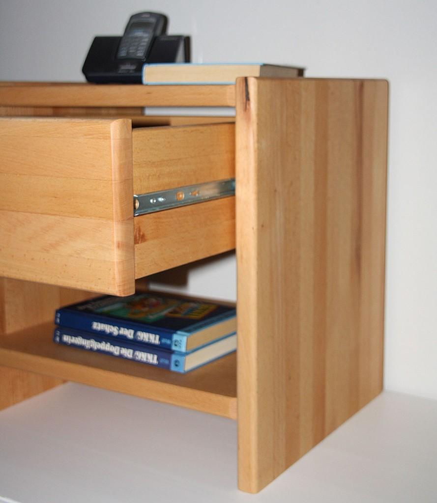 Nachttisch CAMPINO-A mit Schublade und Ablage, Buche natur geölt – Bild 9