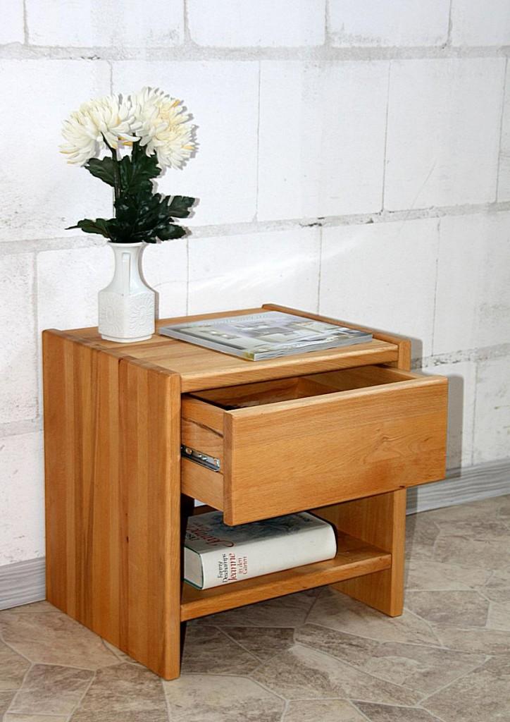 Nachttisch CAMPINO-A mit Schublade und Ablage, Buche natur geölt – Bild 4