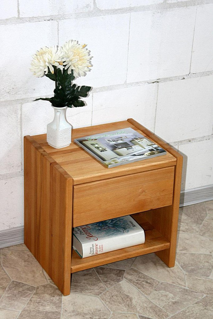 Nachttisch CAMPINO-A mit Schublade und Ablage, Buche natur geölt – Bild 3