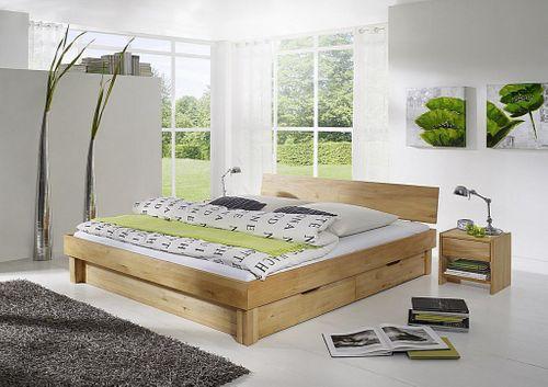 Bett 100x200 Holzbett mit 2 Schubladen Vollholz Kernbuche massiv geölt – Bild 3