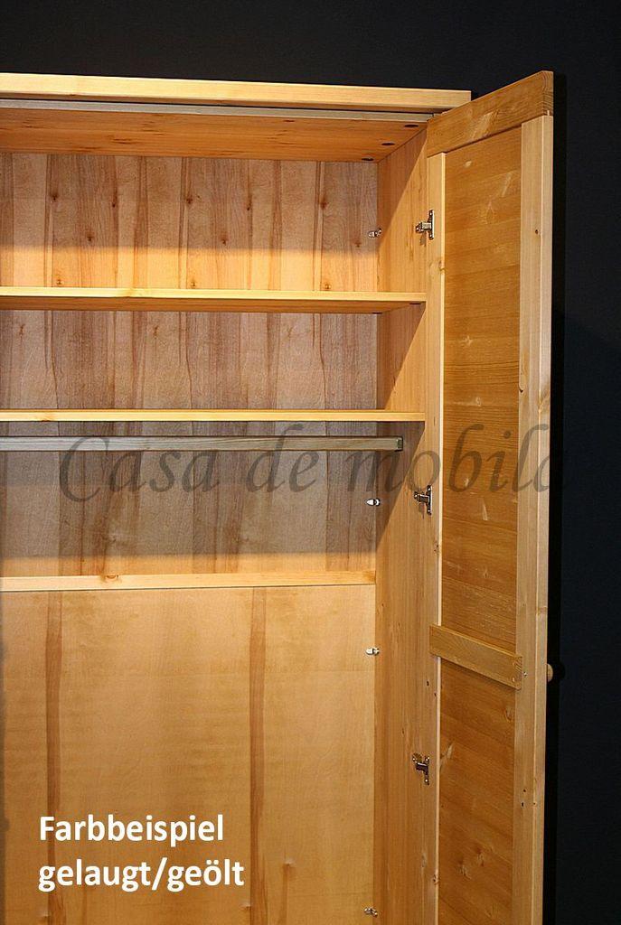 Kleiderschrank 5türig Kiefer massiv Vollholz Schlafzimmerschrank gelaugt geölt – Bild 2