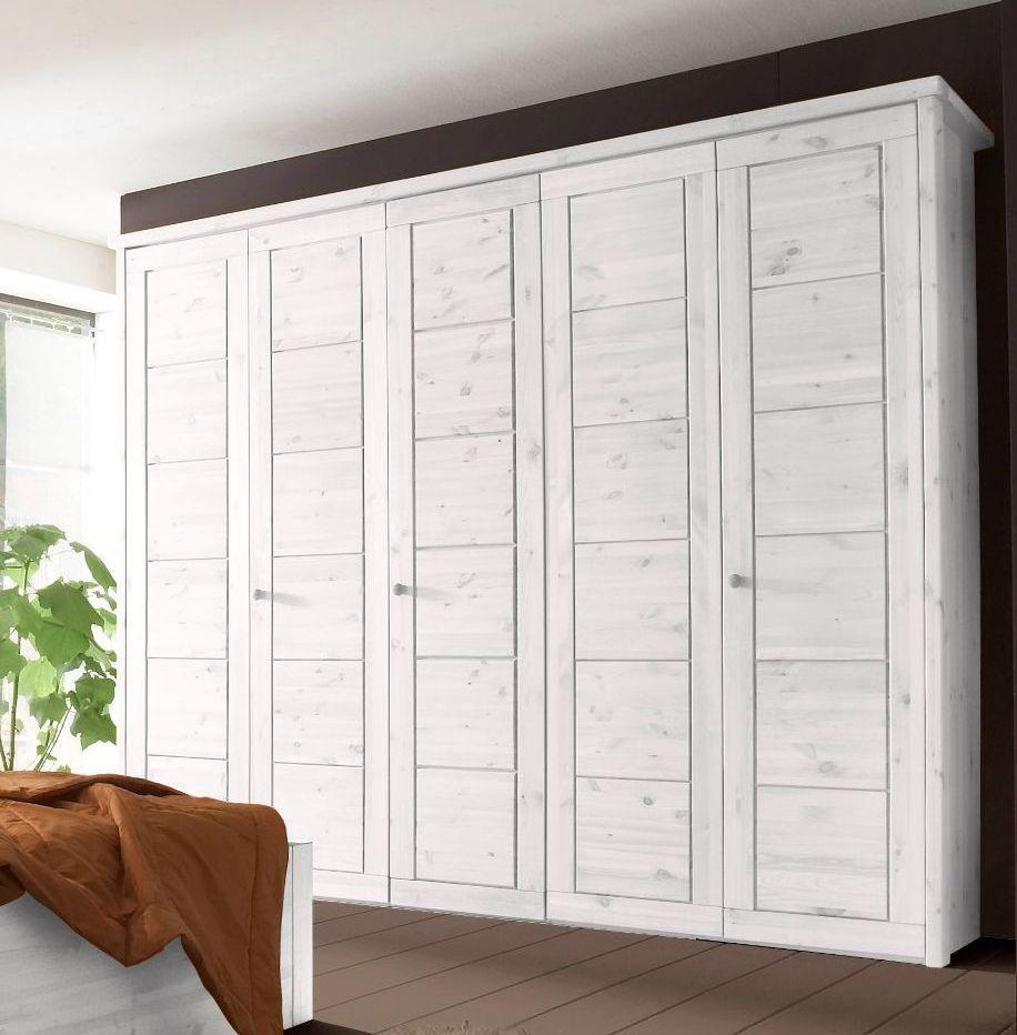 Schlafzimmerkasten vollholz  Schlafzimmer 4teilig, Kiefer massiv weiß lasiert