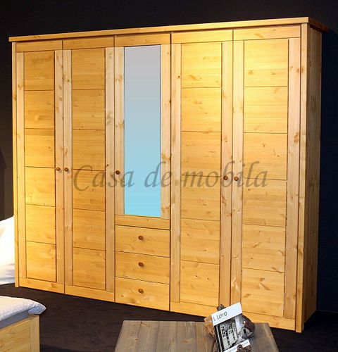 Schlafzimmerschrank 5türig Kleiderschrank Vollholz Kiefer massiv gelaugt geölt – Bild 1