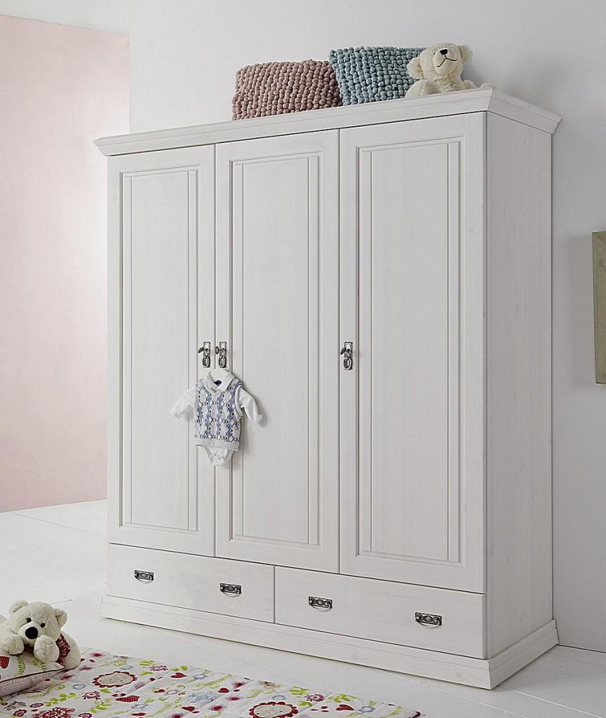 Kinderzimmer-Schrank 3türig weiß gewachst Babyschrank Vollholz Kiefer massiv – Bild 1