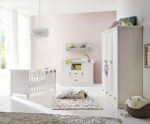 Babyzimmer Set 5teilig weiß Kinderzimmer Kiefer massiv Vollholz
