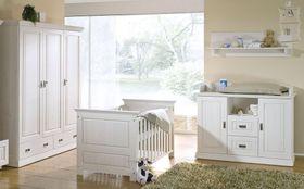 Babyzimmer komplett, 5-teilig, Kiefer massiv weiß gewachst