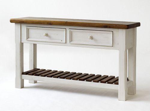 Anrichte Sideboard shabby vintage Beistelltisch Kiefer weiß honig – Bild 3