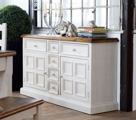 Kommode 160x91x45cm, 2 Türen, 6 Schubladen, Kiefer massiv 2farbig antik weiß / honig