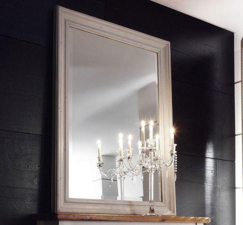 Spiegel mit Rahmen Dielenspiegel Schlafzimmerspiegel Kiefer massiv weiß – Bild 1