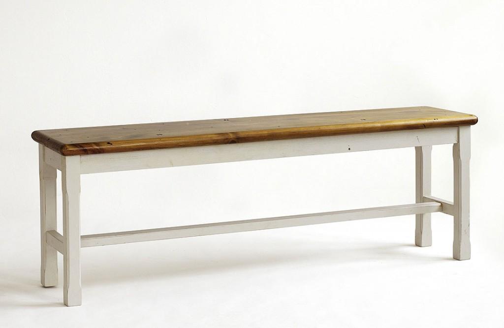 Sitzbank 153x52x35cm Kiefer Massiv 2farbig Antik Weiss Honigfarben