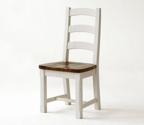 Stuhl Holzstuhl massiv Küchenstuhl Holzsitz Kiefer massiv weiß honig – Bild 2