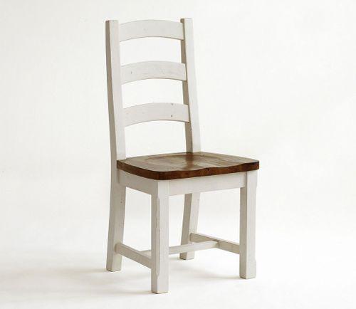 Stuhl Holzstuhl massiv Küchenstuhl Holzsitz Kiefer massiv weiß honig – Bild 1