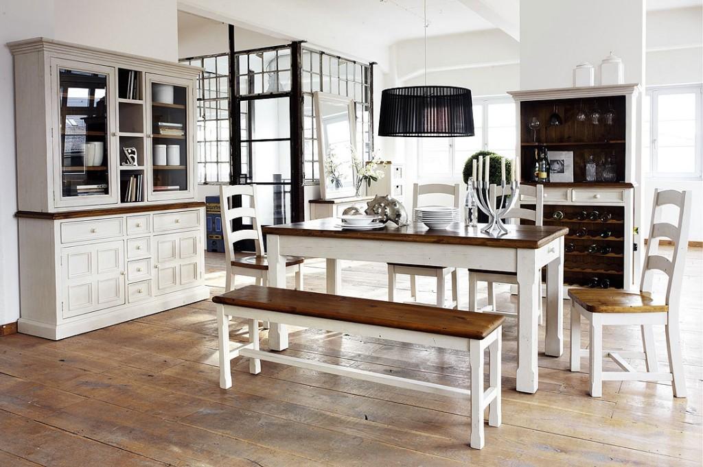 Esstisch vintage weiß  Esstisch 180x90 Tisch Küchentisch Kiefer massiv weiß honig Vintage-Look