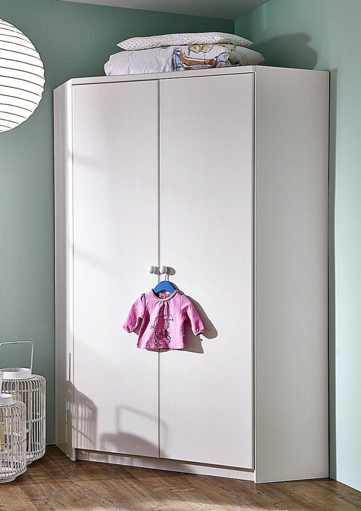 Eckschrank Kinderzimmerschrank Schrank Naturholz Kiefer massiv weiß – Bild 1